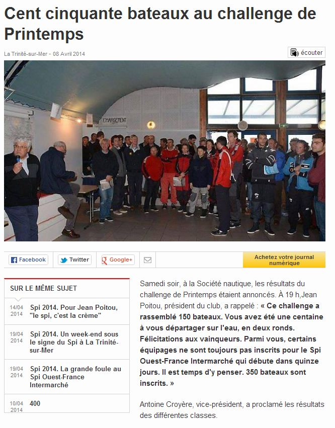 Challenge Automne 2014 - Article Ouest-France
